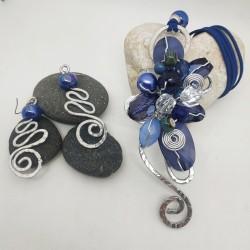Parure Wire resina blu