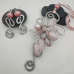 Parure Wire resina rosa
