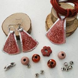 Base ciondolo dipinto campana rosa antico