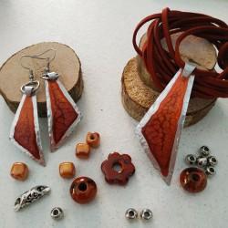 Base ciondolo dipinto triangolo bordeaux arancio