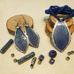 Base ciondolo alluminio dipinto goccia blu azzurro