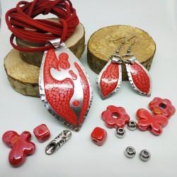 Base ciondolo alluminio dipinto goccia rosso