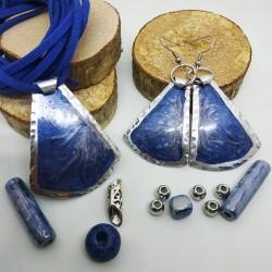 Orecchini alluminio dipinto campana blu notte