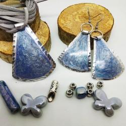 Base ciondolo alluminio dipinto campana blu perlato