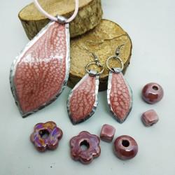 Orecchini alluminio dipinti goccia rosa antico