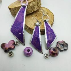 Orecchini alluminio dipinto triangolo viola