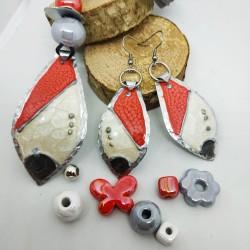 Orecchini alluminio dipinti goccia rosso, bianco, grigio