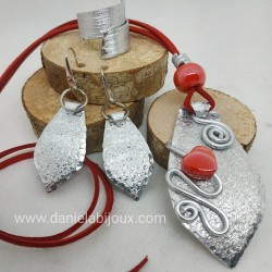 Parure goccia alluminio, cuore ceramica