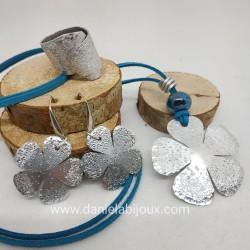 Parure Fiore alluminio sfera turchese
