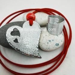 Parure ciondolo cuore alluminio sfera rossa