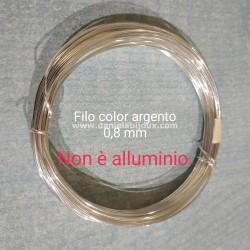 Filo color argento anima in rame 8mm - 6 metri